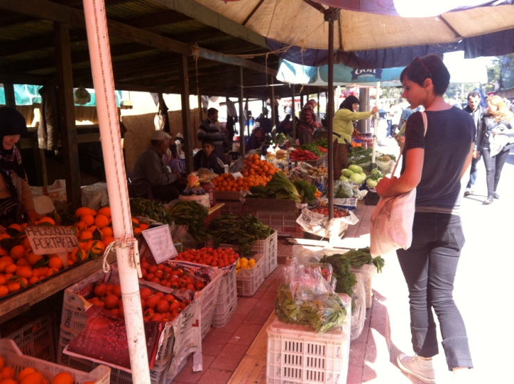 Big choice of fruit and vegetables at the market!